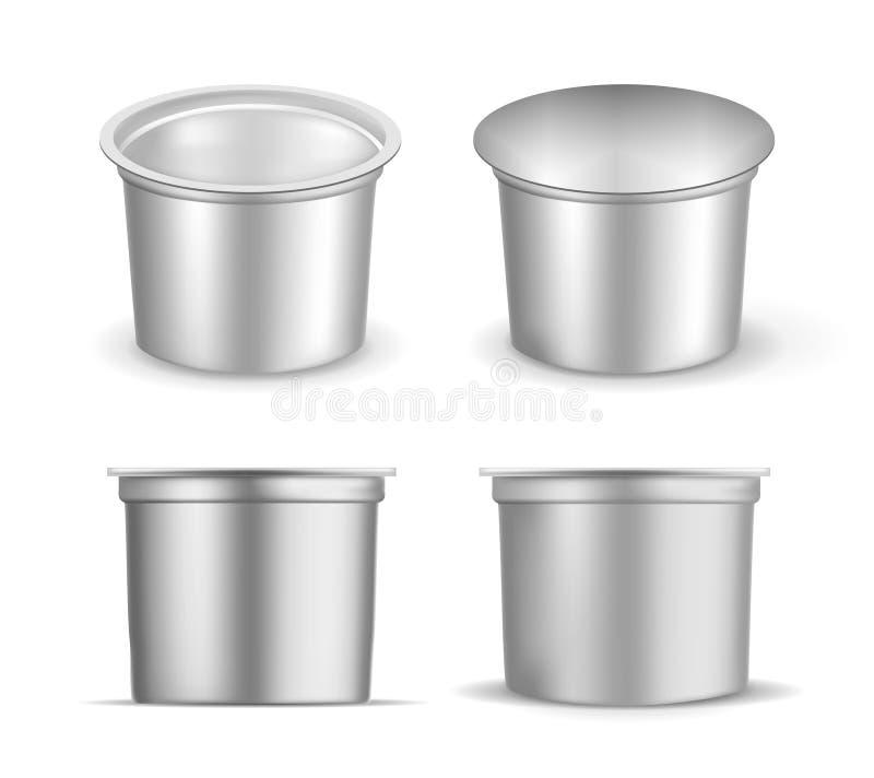 Schwarzer leerer Plastikbehälter für Jogurt Verpacken f?r Sahne und So?e stock abbildung