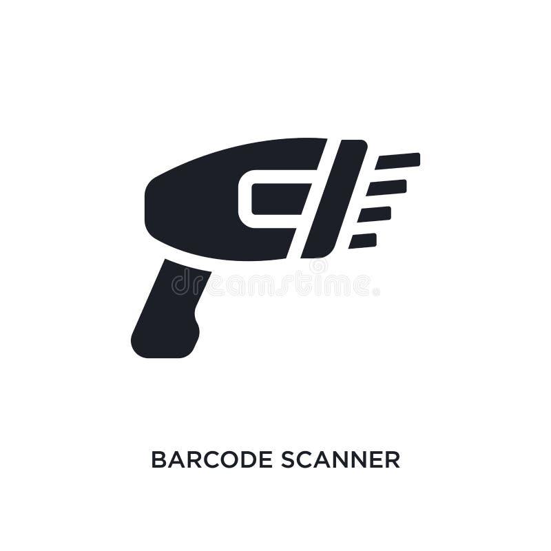 schwarzer lokalisierte Vektorikone des Barcodes Scanner einfache Elementillustration von den E-Commerce-Konzept-Vektorikonen Barc lizenzfreie abbildung