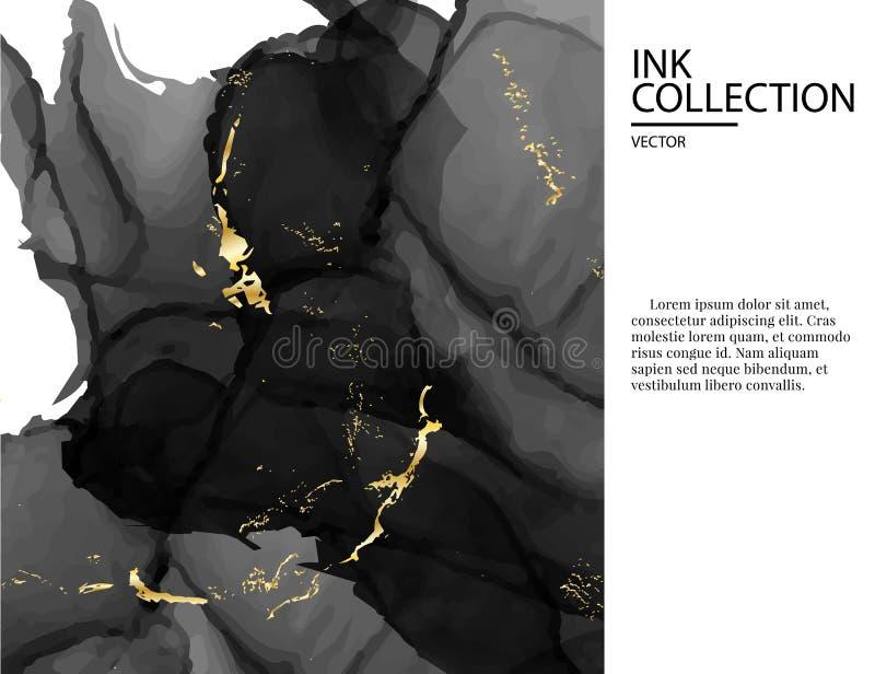 Schwarzer Luxuskartenhochzeitseinladungskarten-Schablonenmarmorierungentwurf, moderne dunkle Goldangebotdekoration lokalisiert au stock abbildung