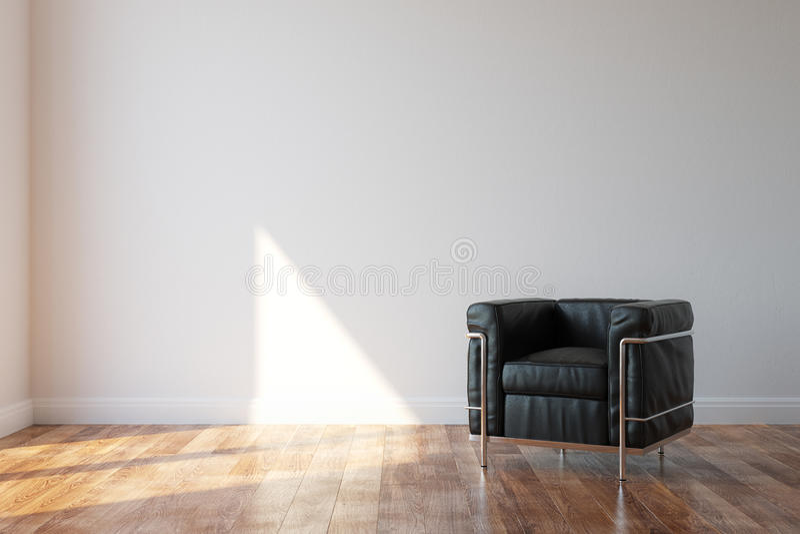 Schwarzer Luxusledersessel im modernen Art-Innenraum lizenzfreie stockbilder