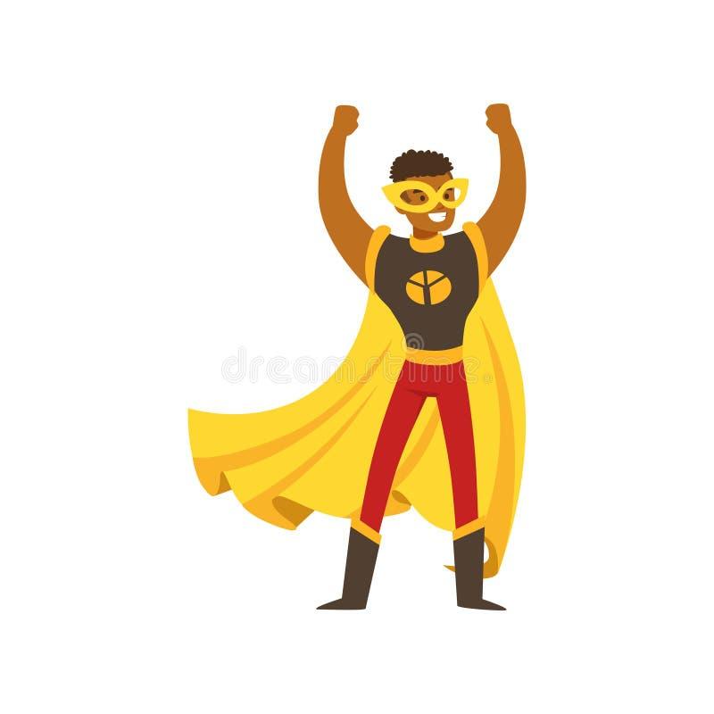 Schwarzer männlicher Superheld im Comicskostüm steht mit den Händen oben stock abbildung