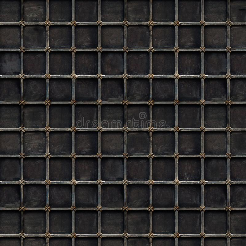 Schwarzer Metallgitterhintergrund mit quadratischen Zellen stockbild