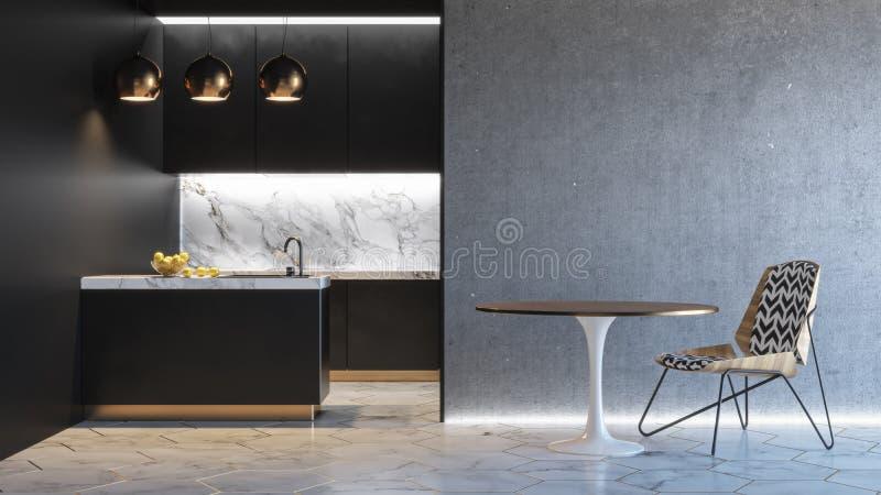 Schwarzer minimalistic Innenraum der Küche 3d übertragen Illustrationsspott oben lizenzfreie abbildung