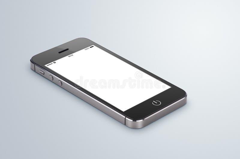 Schwarzer moderner Smartphone mit leerem Bildschirm liegt auf dem grauen surfa lizenzfreies stockbild