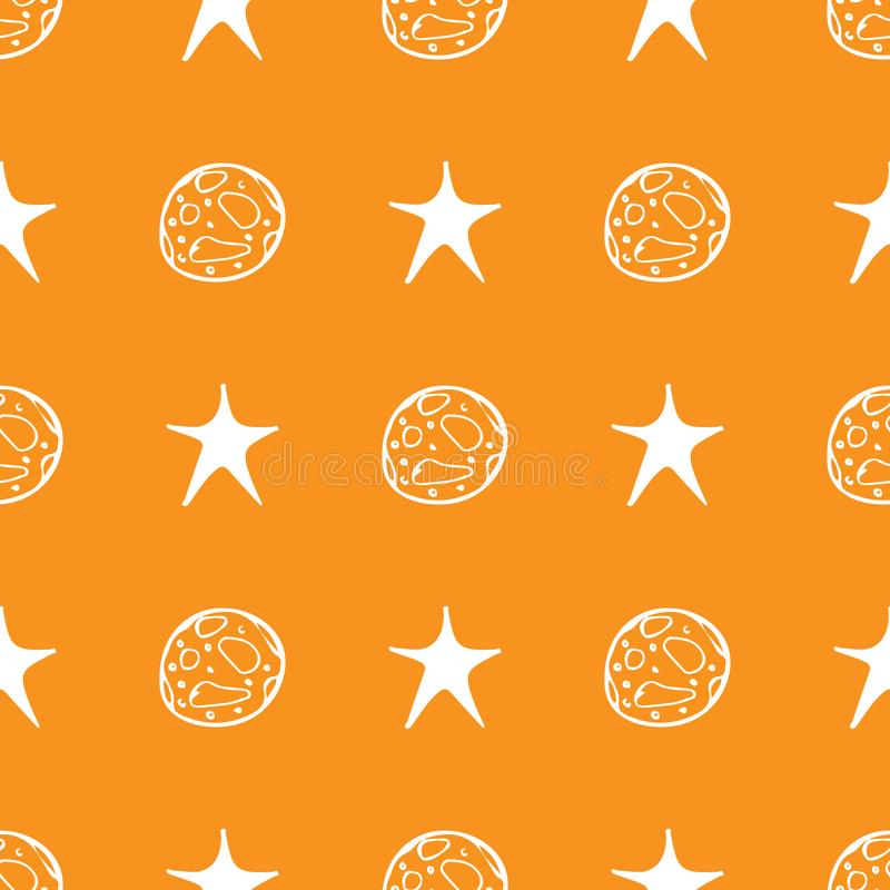 Schwarzer Mondstern nahtloses Halloween auf orange Hintergrund Nachtsternchen-Vereinbarung Vektorhintergrund Babyillustration Rau lizenzfreie abbildung