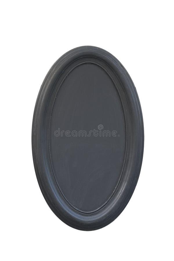 Schwarzer ovaler Gipsrahmen Isolat auf Weiß lizenzfreie stockfotos