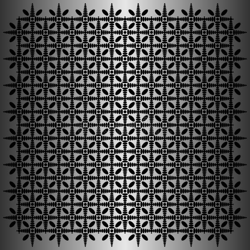Schwarzer ovaler Mustervektor im metallischen Hintergrund stock abbildung