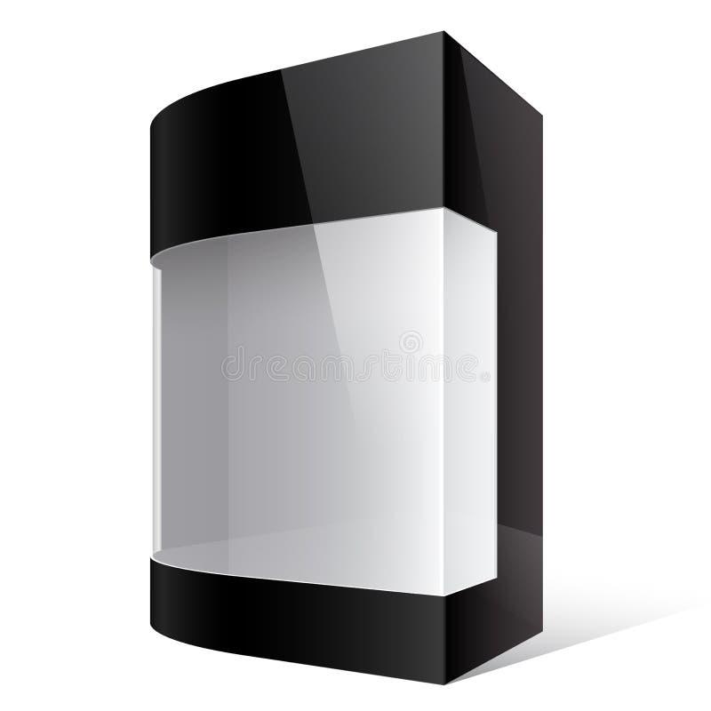 Schwarzer Paket-Kasten mit aufgerundeter Ecke stock abbildung