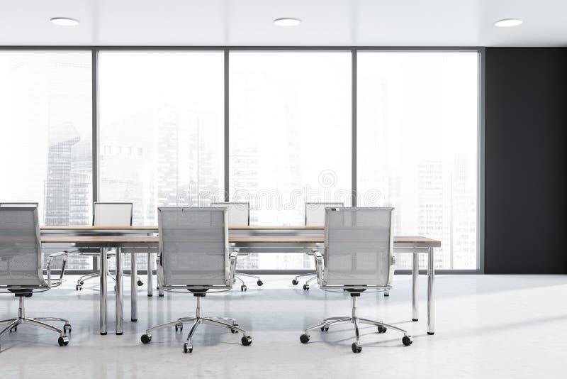 Schwarzer panoramischer Konferenzsaalinnenraum lizenzfreie abbildung