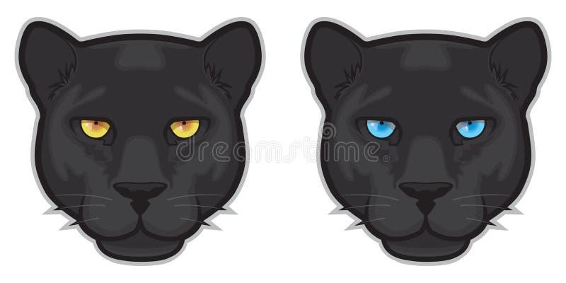 Schwarzer Panther-Gesichter stock abbildung