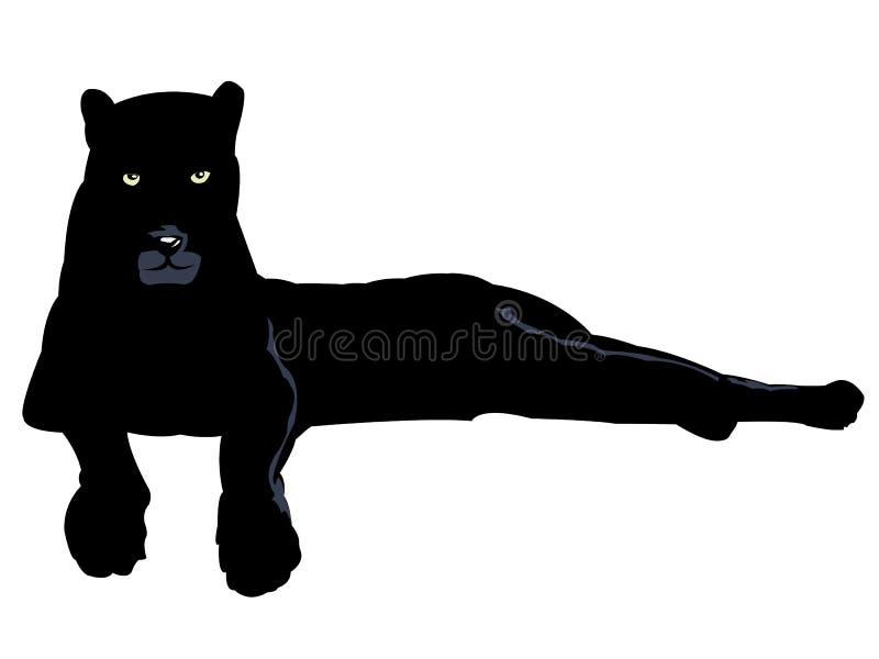 Schwarzer Panther getrennt auf Weiß lizenzfreie abbildung