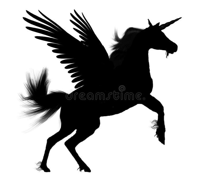 Schwarzer Pegasus Unicorn Silhouette lizenzfreie abbildung