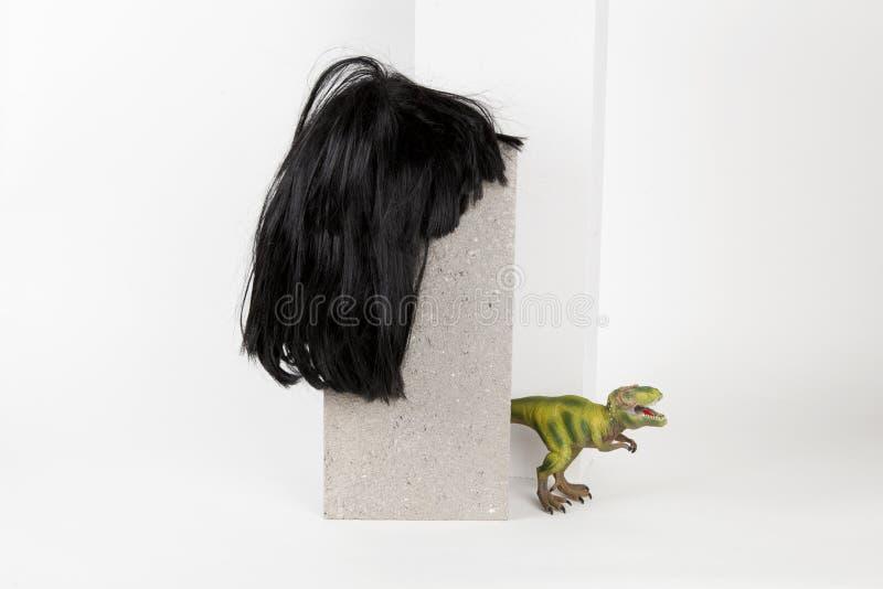 Schwarzer Perücke Schlackenbetonblock und trex stockfotografie
