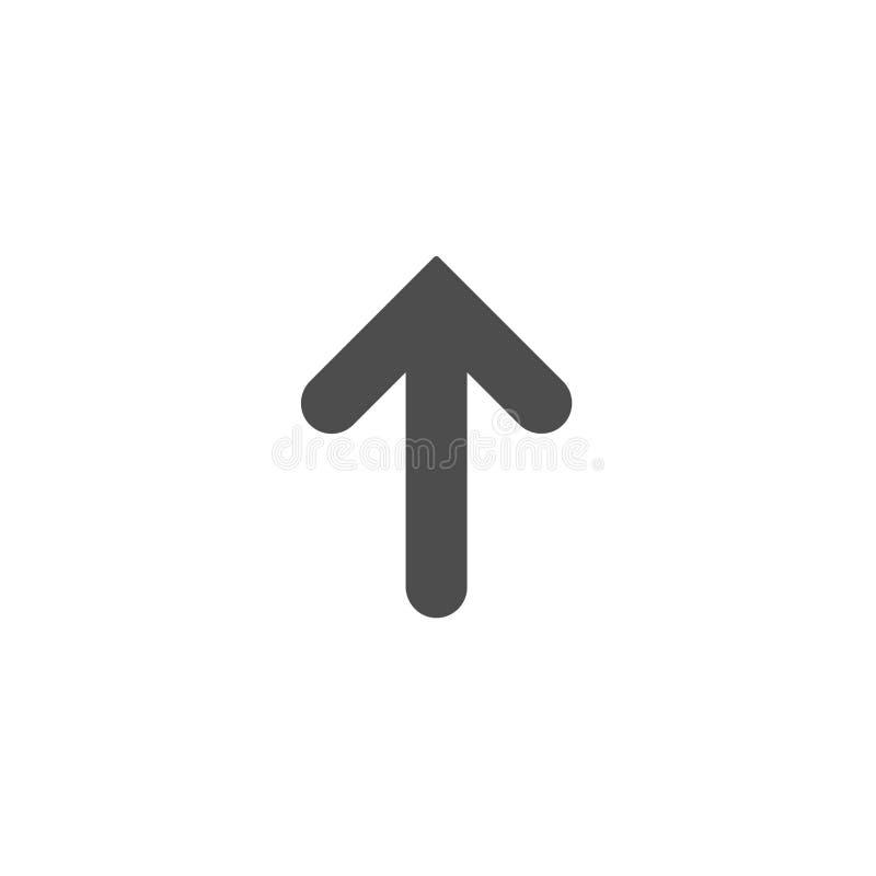 Schwarzer Pfeil herauf Ikone Lokalisiert auf Weiß Antriebskraftikone Verbesserungszeichen stockfoto