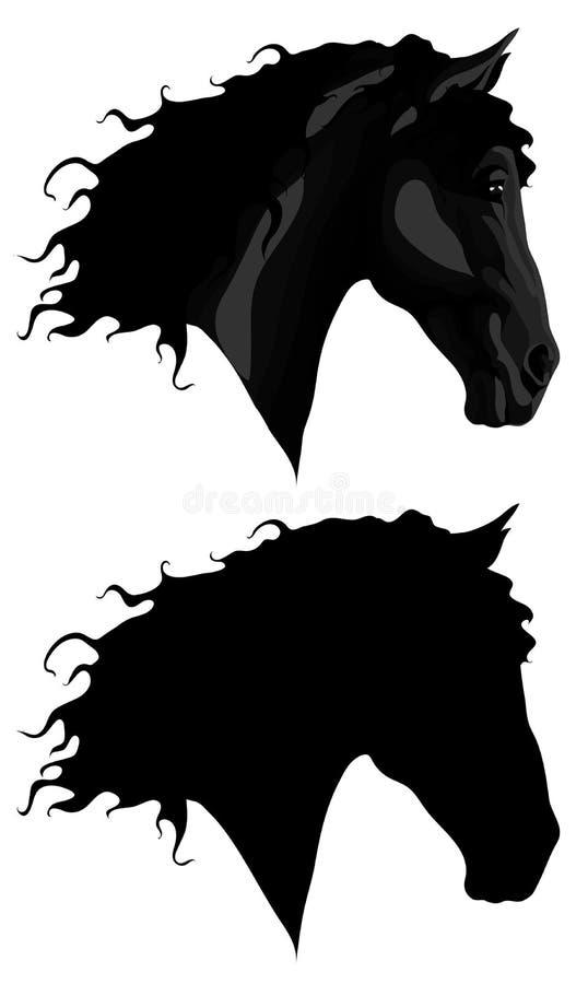 Schwarzer Pferdenkopf + -umreiß stockfotografie
