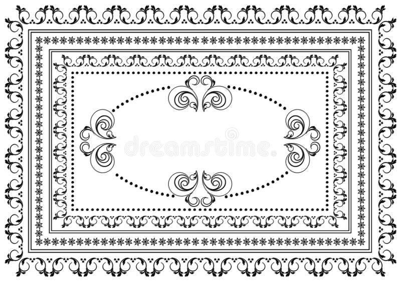 Schwarzer Rahmen mit Grenzen von wirbelnden Streifen, von Blättern und von Sternen mit ovaler Verzierung in der Mitte auf einem w lizenzfreie stockbilder
