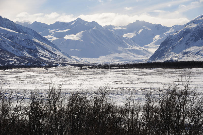 Schwarzer Rapids-Gletscher in der Alaska-Reichweite lizenzfreie stockbilder