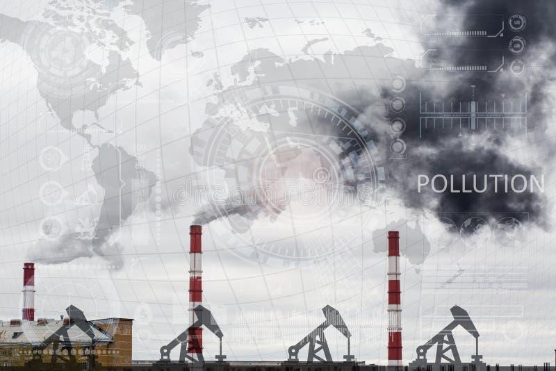 Schwarzer Rauch kommt vom Rohr Wärmeenergienetz CHP lizenzfreie abbildung