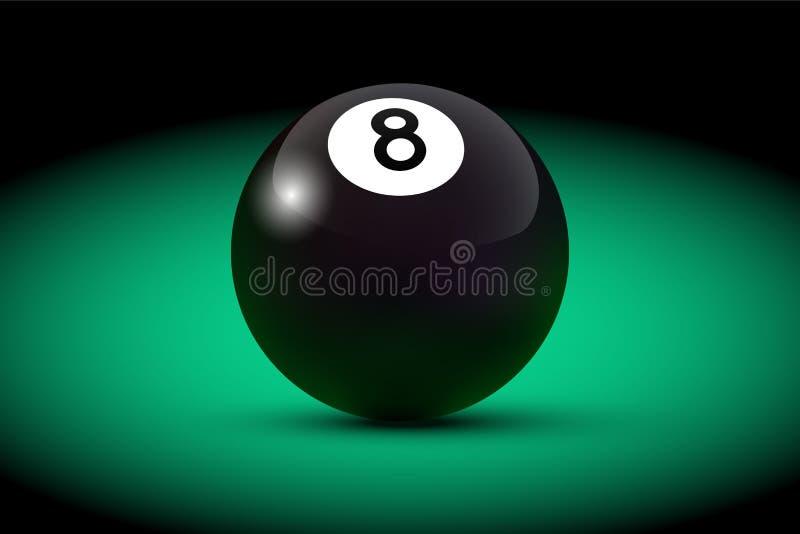 Schwarzer realistischer Ball des Billard acht auf grüner Tabelle Vektorbillardillustration lizenzfreie abbildung