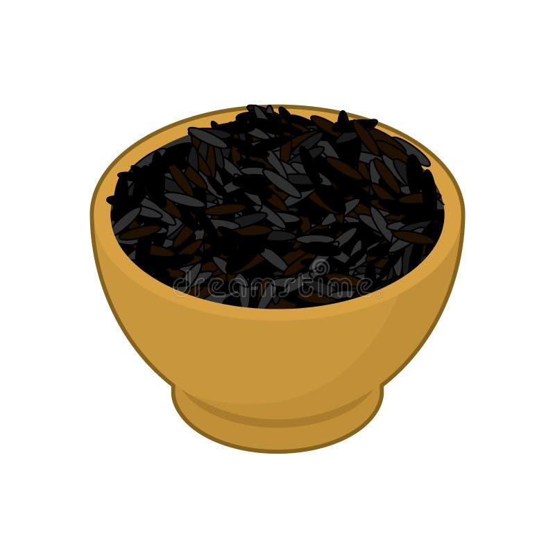 Schwarzer Reis in der hölzernen Schüssel lokalisiert Grützen im hölzernen Teller Korn O stock abbildung