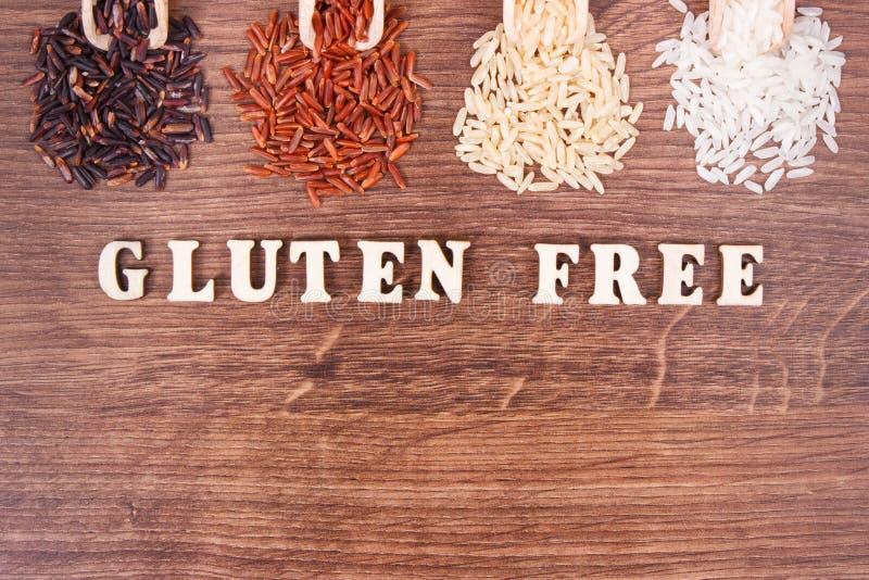Schwarzer, roter, brauner und weißer Reis auf hölzerner Schaufel, gesundes Lebensmittelkonzept, Kopienraum für Text stockbilder