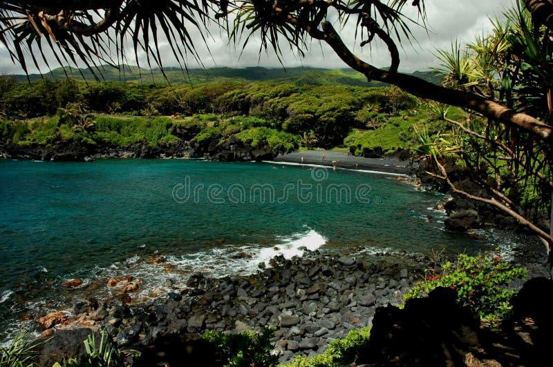 Schwarzer Sand-Strand, Maui stockfoto