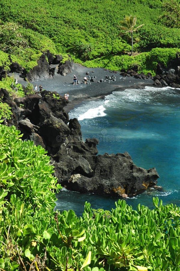 Schwarzer Sand-Strand, Maui lizenzfreies stockbild