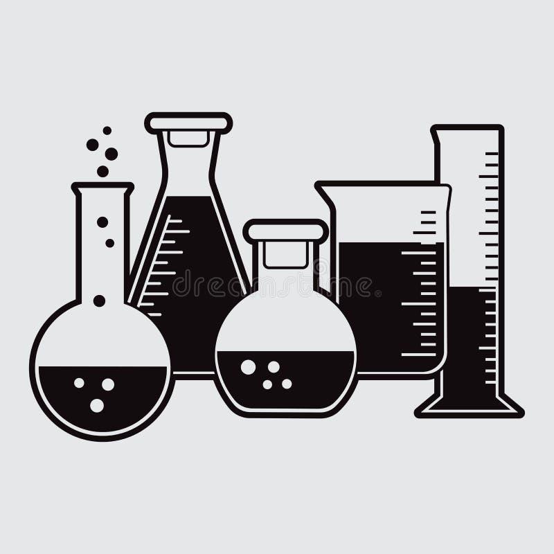 Schwarzer Satz der chemischen Flasche mit Flüssigkeit Vektor lizenzfreie abbildung