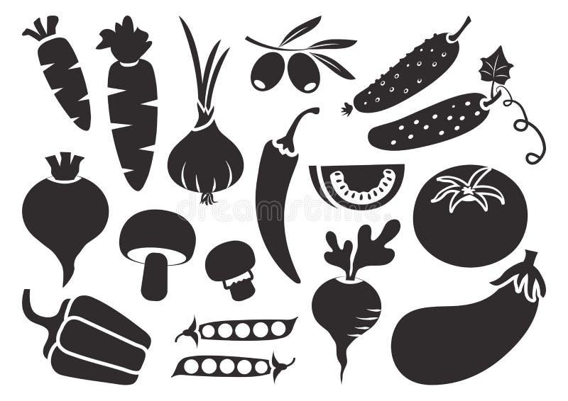 Schwarzer Satz Gemüse lokalisiert auf weißem Hintergrund Vektor stock abbildung