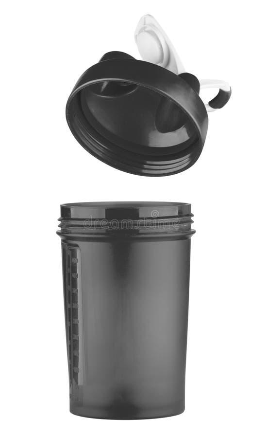Schwarzer Schüttel-Apparat für Sportnahrung mit einem offenen Deckel stockfotos