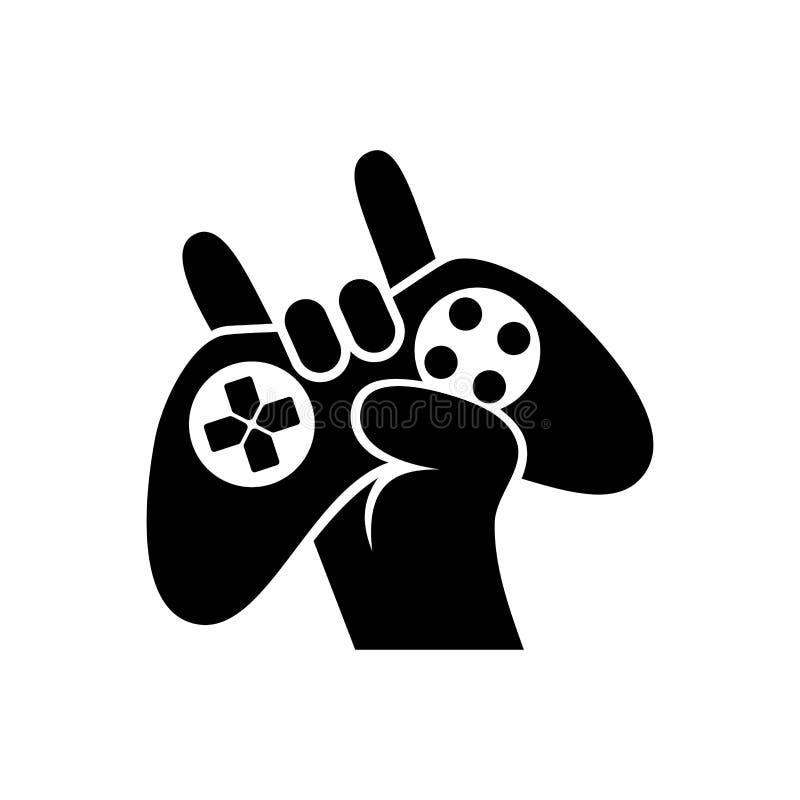 Schwarzer Schattenbild-Steuerknüppel-in der Hand Gamer lokalisierte weiße Hintergrund-Vektorillustration vektor abbildung