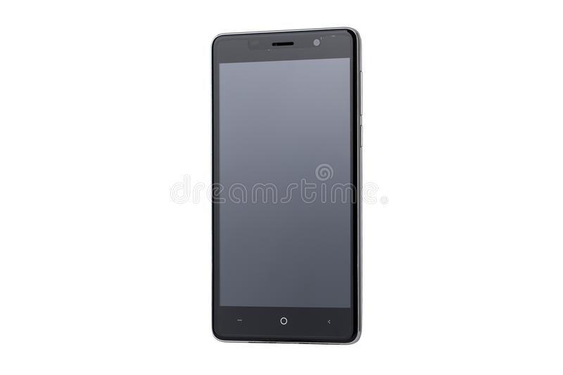 Schwarzer Schirm von Smartphone lokalisiert auf weißem Hintergrund stockfotografie
