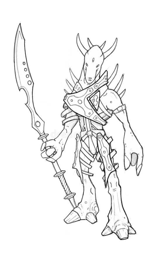 Schwarzer Schmutz-raue Bleistift-Skizze des Ausländers oder des Fantasie-Kriegers in der Rüstung stock abbildung