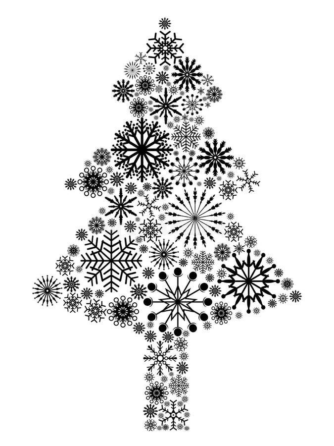 Schwarzer Schneeflocke Weihnachtsbaum lizenzfreie abbildung