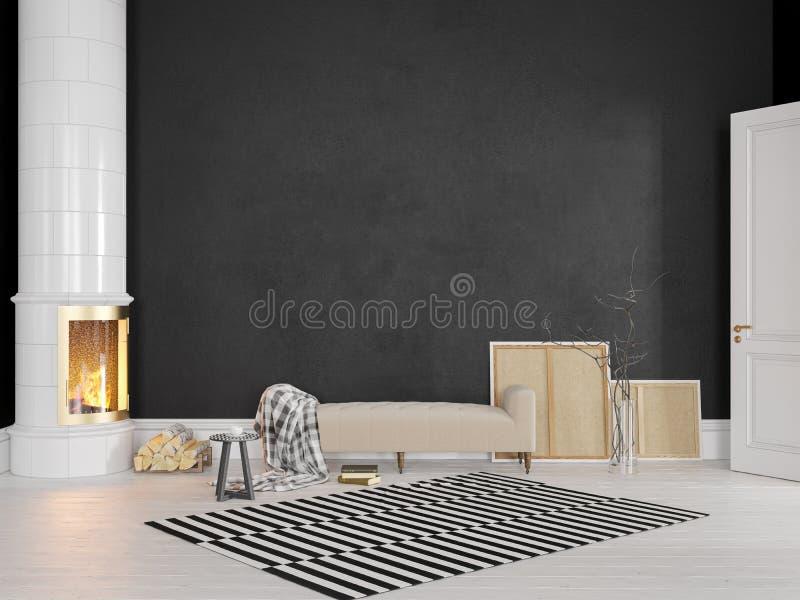 Schwarzer Skandinavier, klassischer Innenraum mit Couch, Ofen, Kamin, Teppich stockfoto
