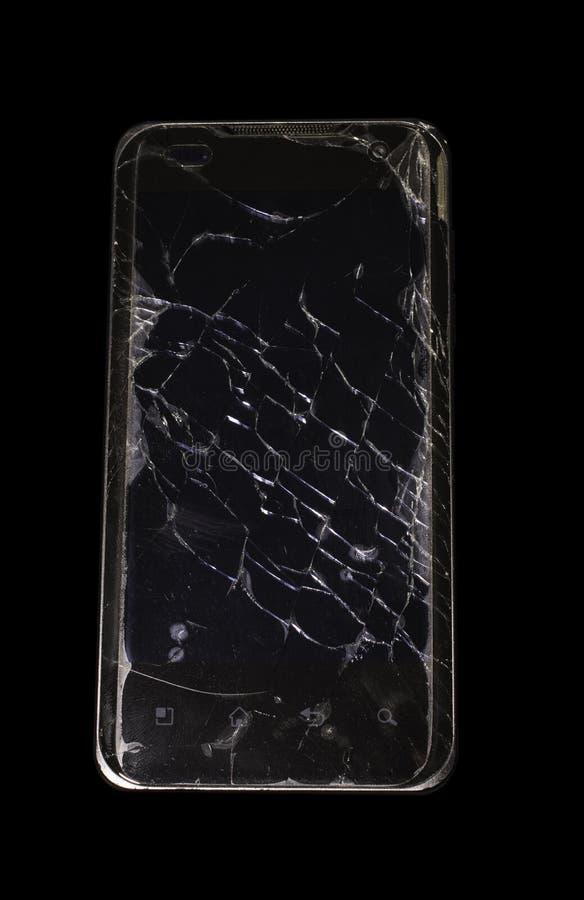 Schwarzer Smartphone mit gebrochenem Schirm stockfoto