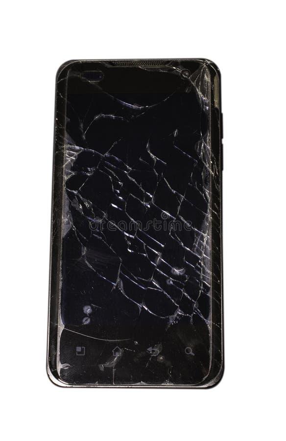 Schwarzer Smartphone mit gebrochenem Schirm stockbild
