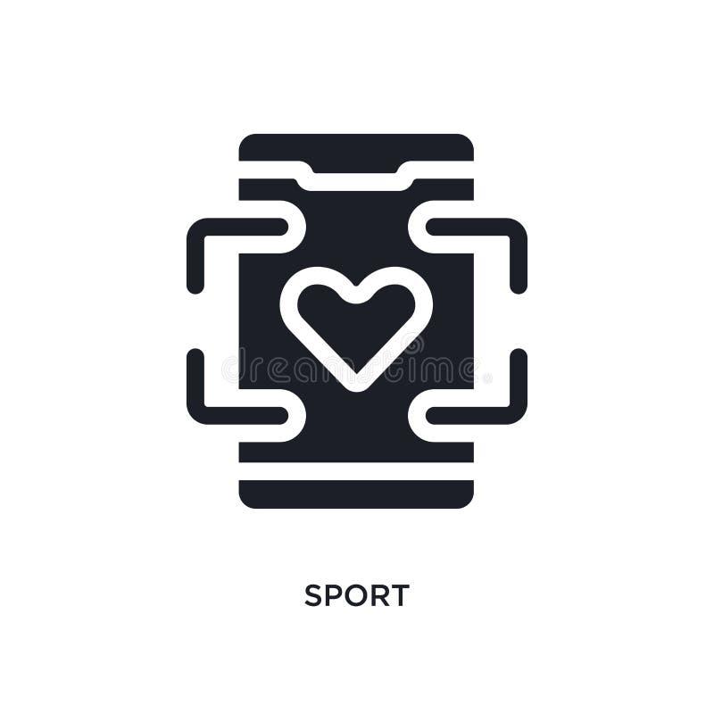 schwarzer Sport lokalisierte Vektorikone einfache Elementillustration von den beweglichen Appkonzept-Vektorikonen editable Logosy lizenzfreie abbildung