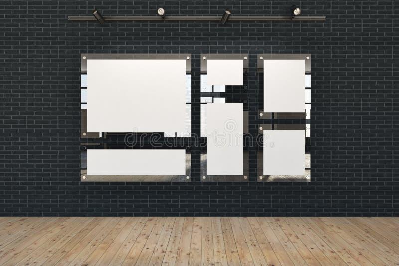 Schwarzer Spott herauf Fahnengalerie, Kunstausstellung, Dachboden lizenzfreie abbildung