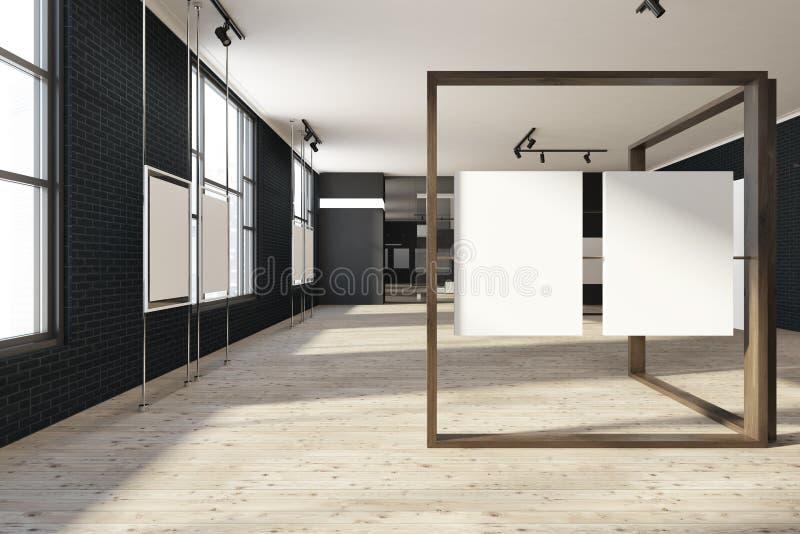 Schwarzer Spott herauf Plakatgalerie, Kunstausstellungsausstellung lizenzfreie abbildung