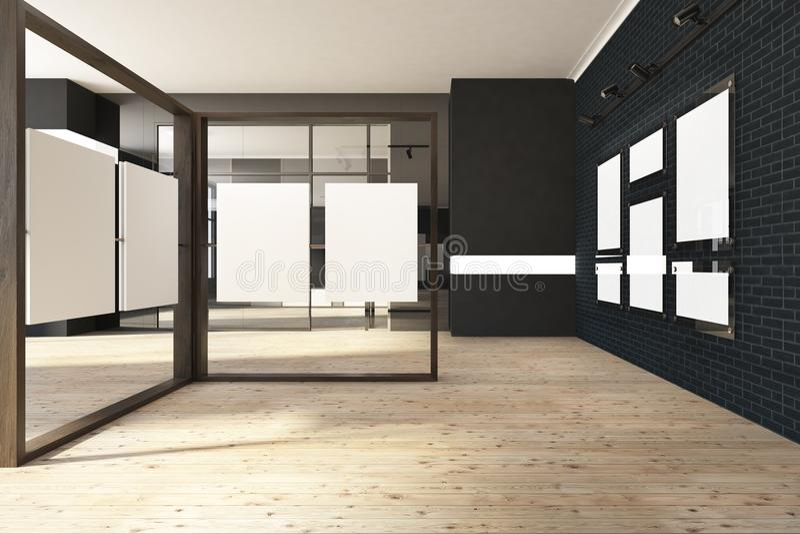 Schwarzer Spott herauf Rahmengalerie, Kunstausstellungsausstellung stock abbildung