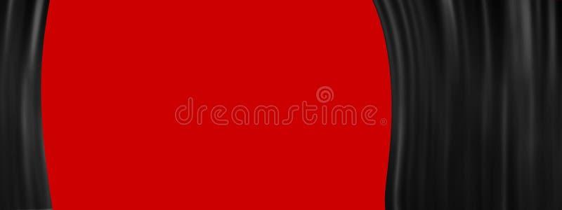 Schwarzer Stadiumstheatervorhang offen auf rotem Hintergrund mit Kopienraum vektor abbildung
