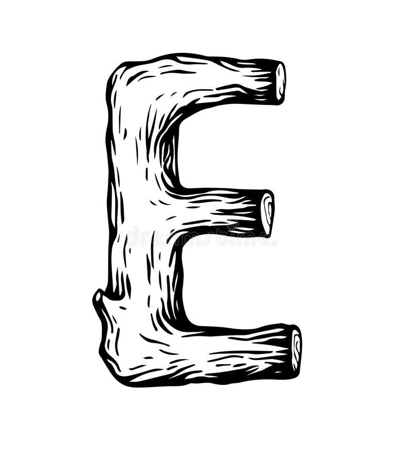 Schwarzer Stich Buchstabe E gemacht vom Holz mit Blättern auf dem weißen Hintergrund lizenzfreies stockbild