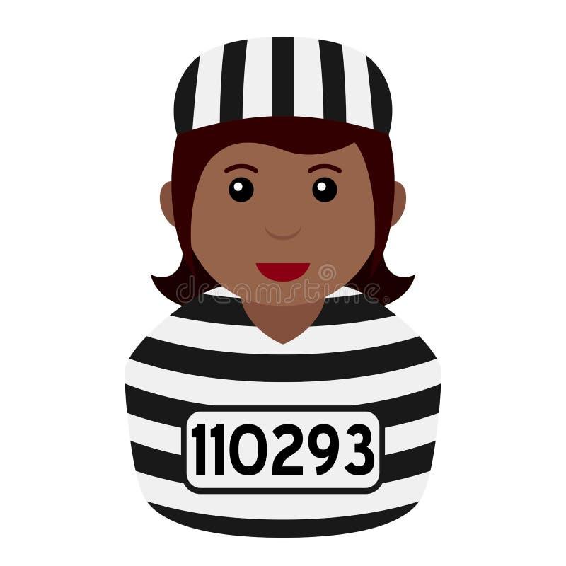 Schwarzer Strafgefangene-Frauen-Avatara-flache Ikone stock abbildung