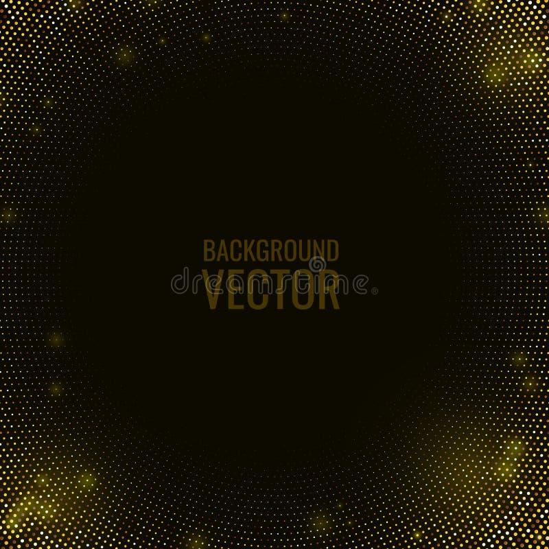 Schwarzer strukturierter Hintergrund der Zusammenfassung mit Halbtonmuster des goldenen Funkelns stock abbildung