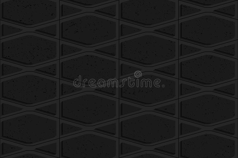 Schwarzer strukturierter Plastik zerquetschte Hexagone und Dreiecke lizenzfreie abbildung
