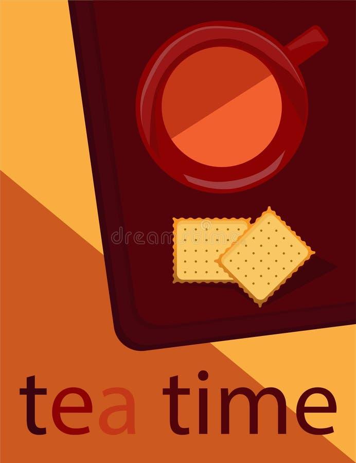 Schwarzer Tee in den Schalen und in den Crackern auf dem Rot vektor abbildung