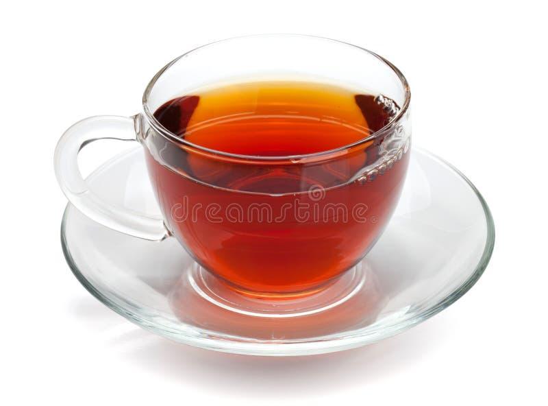 Schwarzer Tee im Glascup lizenzfreie stockfotos