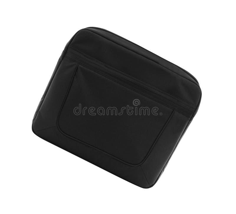 Schwarzer Textillaptopaktenkoffer stockbild