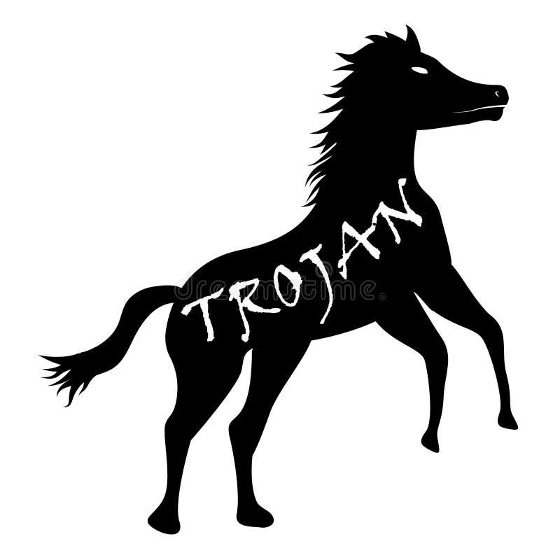 Schwarzer Trojan- Horsecomputervirus-Ikonenvektor stock abbildung